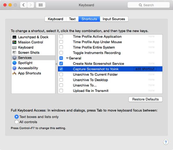 Screenshot System Preferences Keyboard Shortcuts
