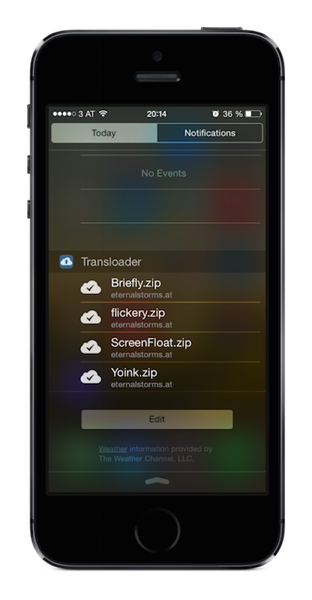Transloader's Notification Center Today Widget