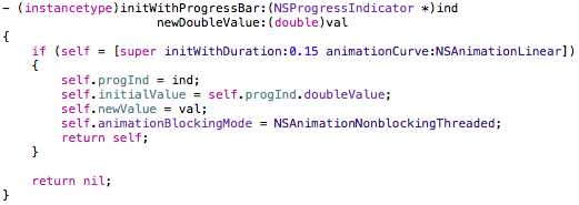 initialization of the NSAnimation subclass