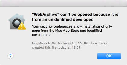 Webarchive opened after bug occurred