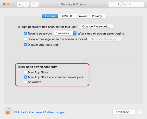System Preferences - Security and Privacy Settings