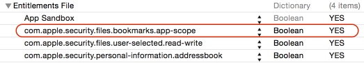 Sandbox entitlements necessary for security-scoped bookmarks