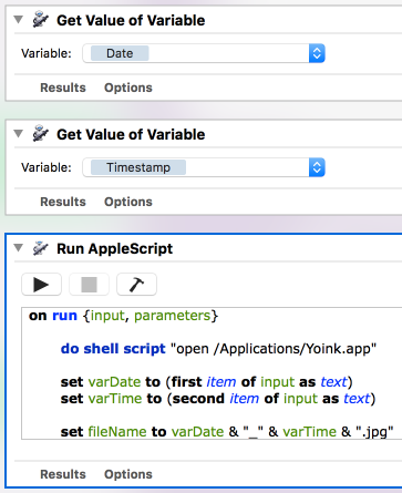Screenshot of Automator, appending date and time to the filename