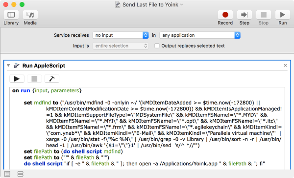 Screenshot of Automator Workflow for Yoink