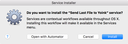 Instaling the Automator Workflow