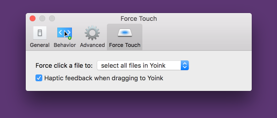 Yoink's Force Touch Preferences
