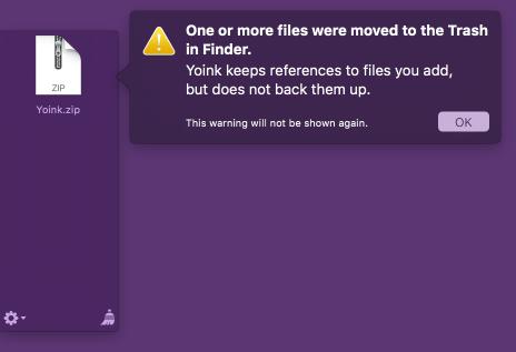 Trash warning in Yoink 3.2