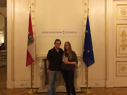 My girlfriend Britta and I at the Austrian Bundeskanzleramt