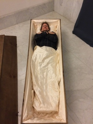 Me lying in a coffin