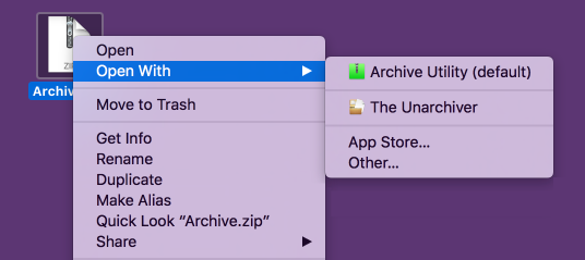 The Finder's Open With contextual menu