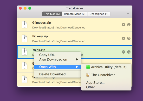 Transloader 3's Open With contextual menu
